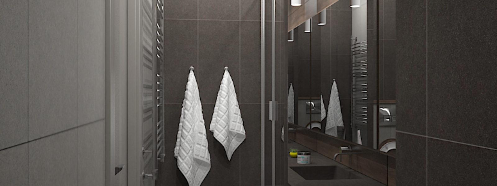 Дизайн проект ванной комнаты в стиле лофт