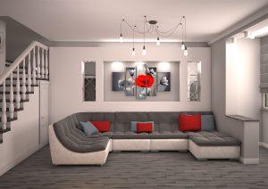 Дизайн проект двухуровневой квартиры. Гостиная.