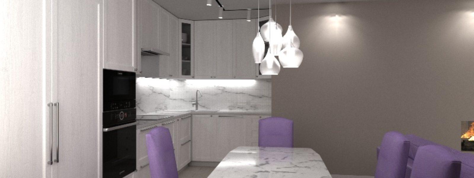 Дизайн проект трехкомнатной квартиры. Вид кухни из гостиной.