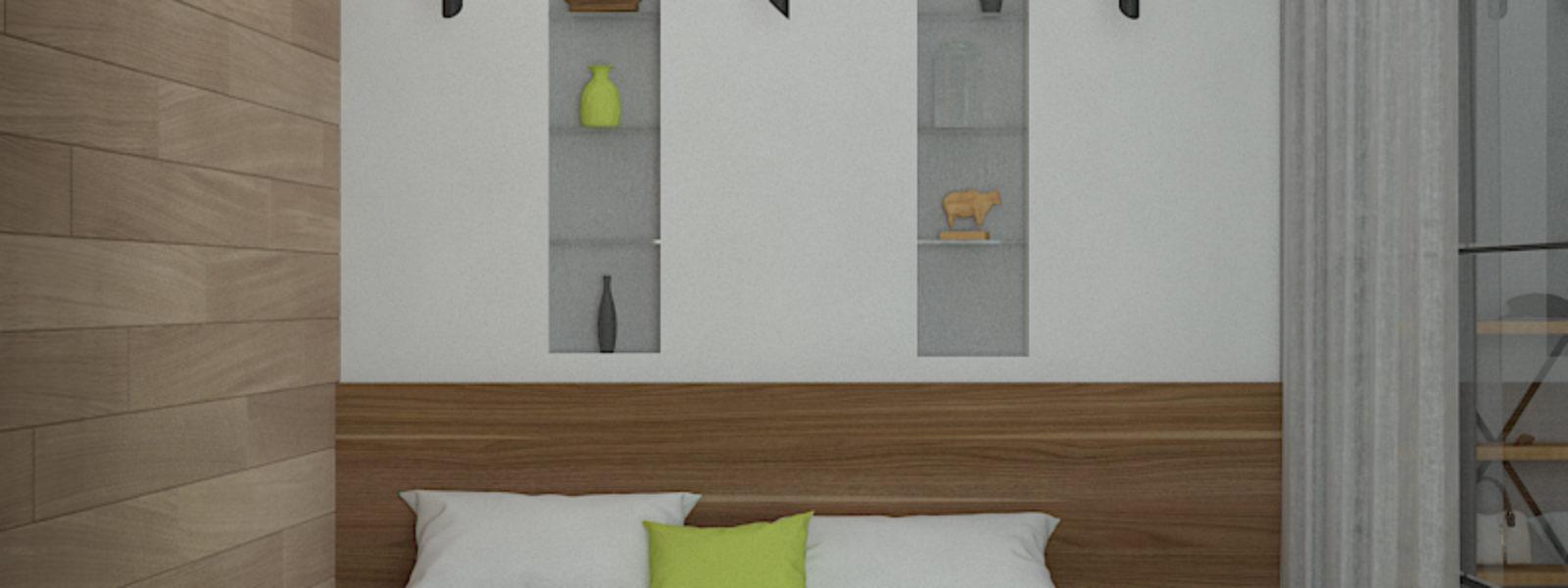 Дизайн проект квартиры в стиле лофт. Спальня.