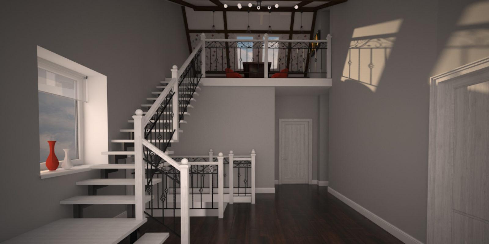 Дизайн проект двухуровневой квартиры. Холл.