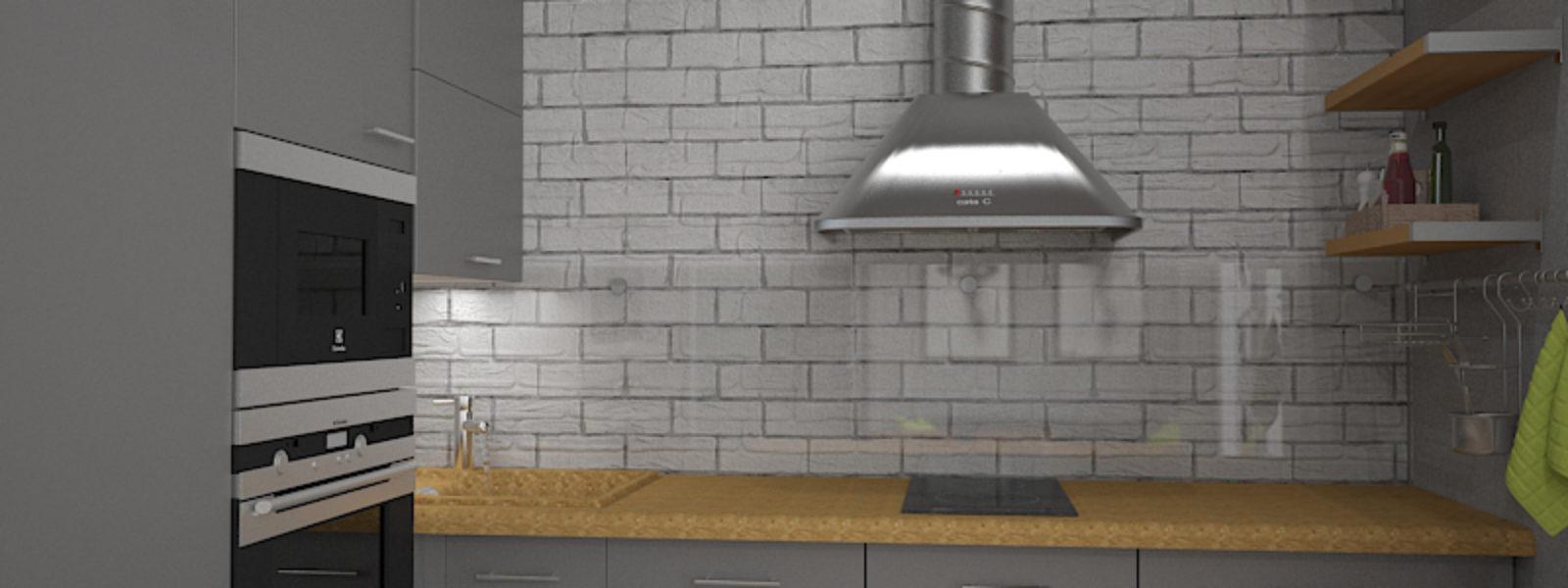 Дизайн проект квартиры в стиле лофт. Кухня.