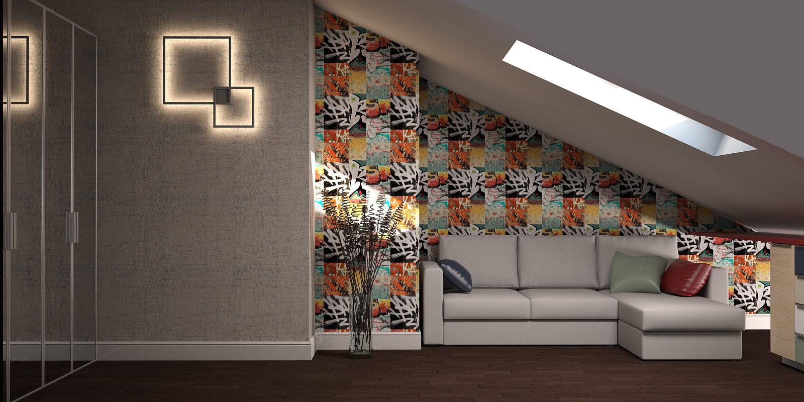 Дизайн проект двухуровневой квартиры. Гостевая.