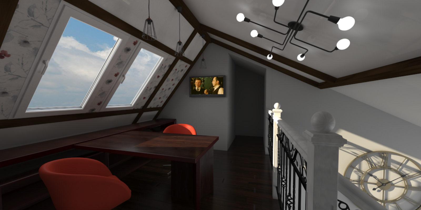 Дизайн проект двухуровневой квартиры. Кабинет.