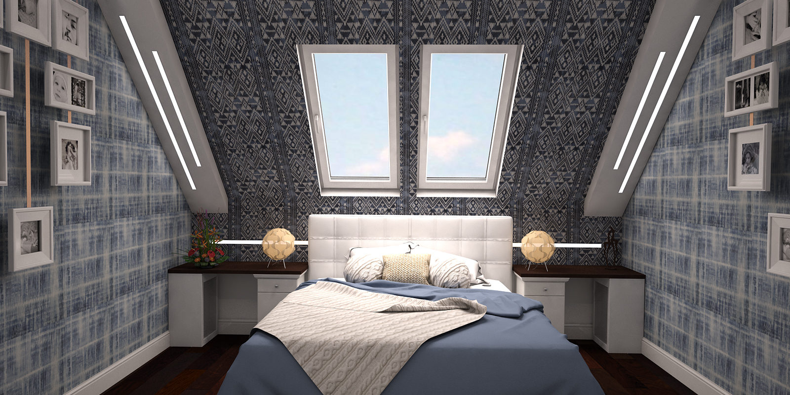 Дизайн проект двухуровневой квартиры. Спальня.