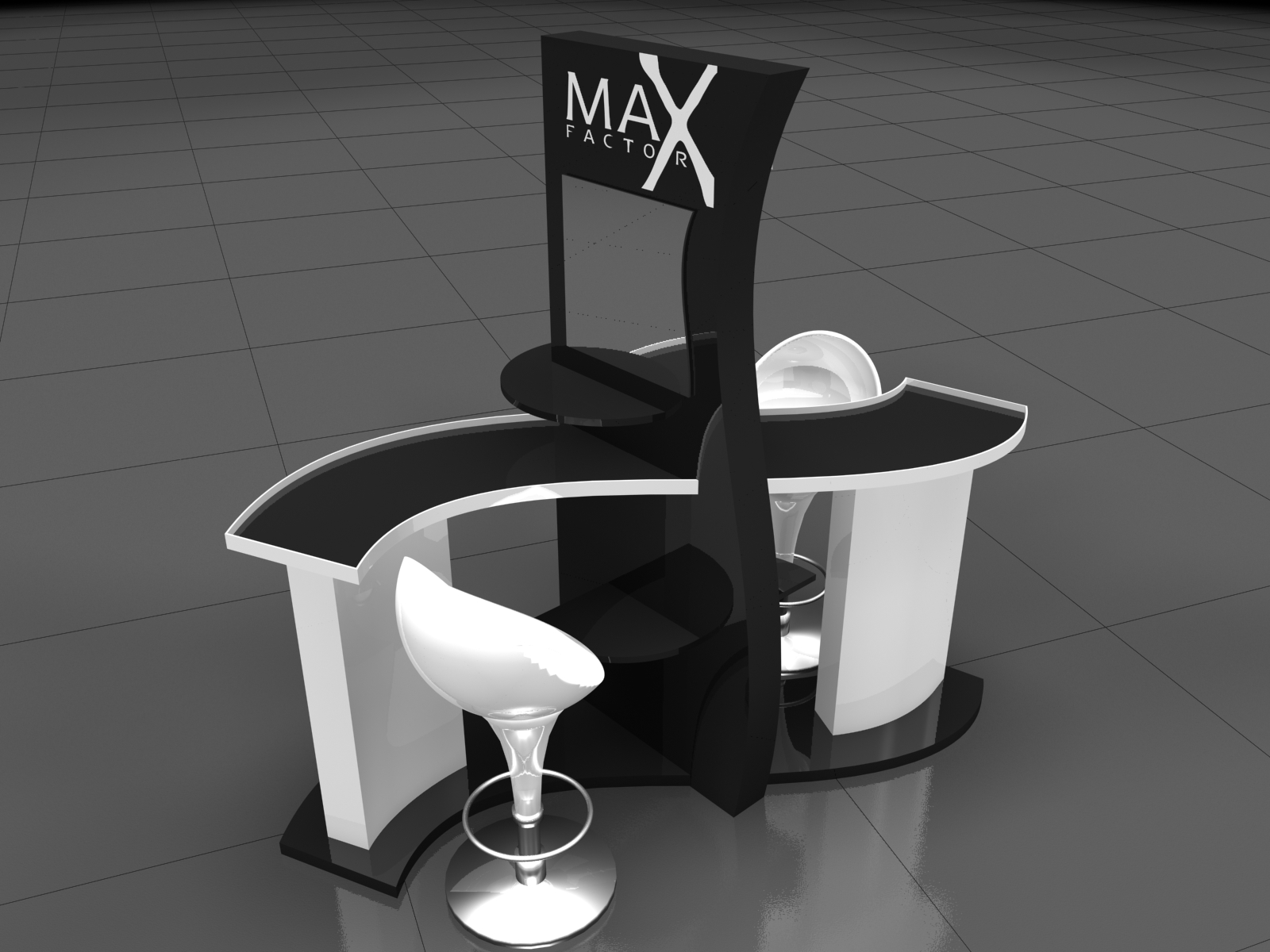 Дизайн проект промо стенда для компании Ривгош. Промо- Неделя моды Max Factor.