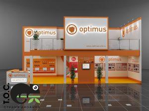 Дизайн проект выставочного стенда компании Optimus.