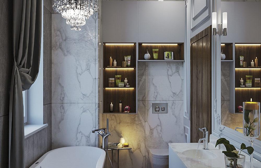 Дизайн проект ванной комнаты. Неоклассика.