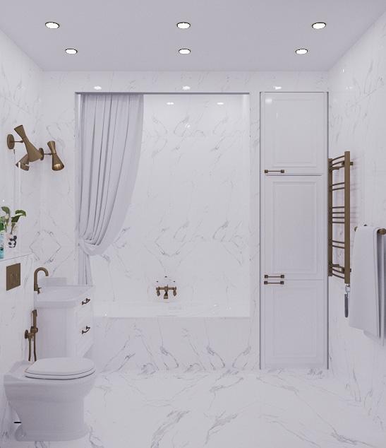 Дизайн проект ванной комнаты. Артдеко.