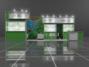 Дизайн проект выставочного стенда НЭК. Новосибирская электронная компания.