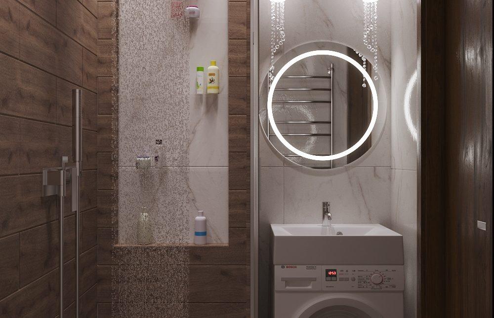 Дизайн проект ванной комнаты. Экостиль.