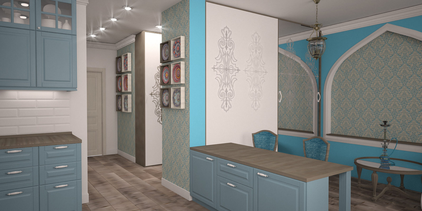Дизайн проект квартиры восточный стиль в сине-голубых тонах.