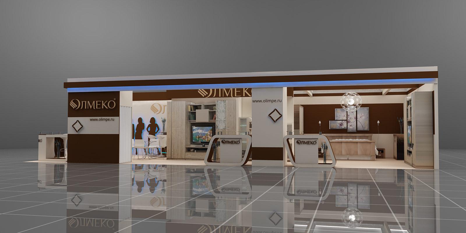Дизайн проект и застройка выставочного стенда для компании Олмеко.