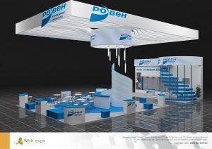 Дизайн проект выставочного стенда группы компании Ровен. Ровен - управление климатом.