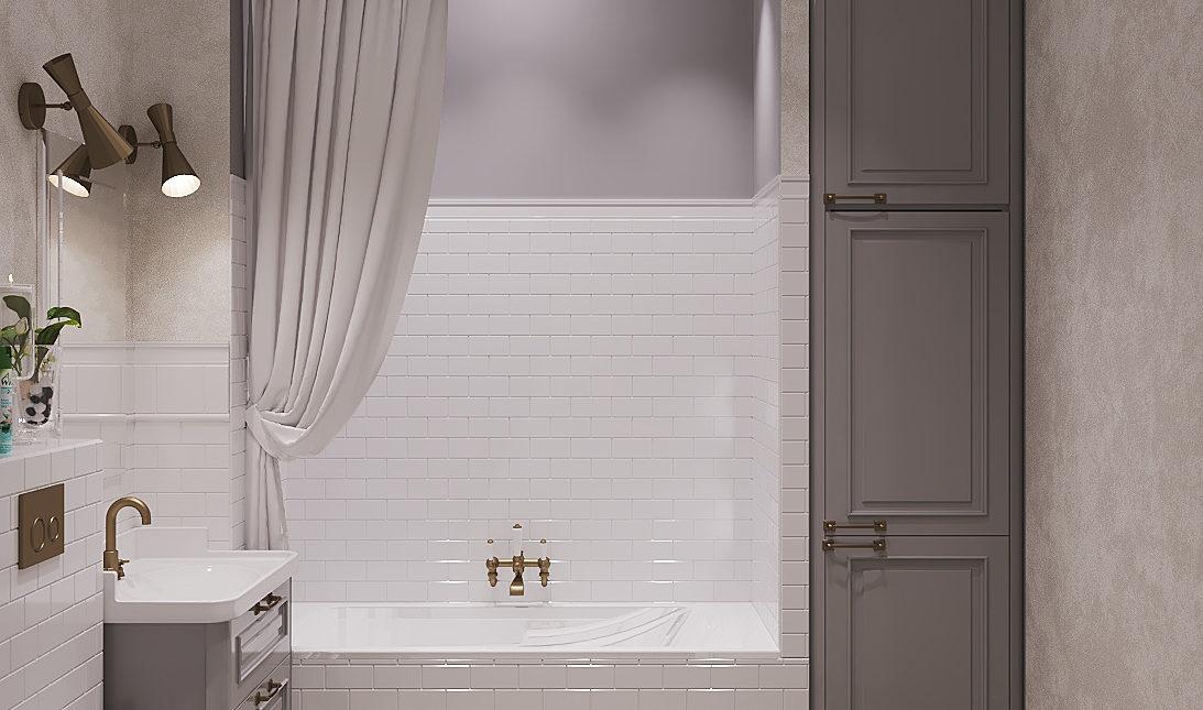 Дизайн проект ванной комнаты. Классический стиль в теплых тонах.