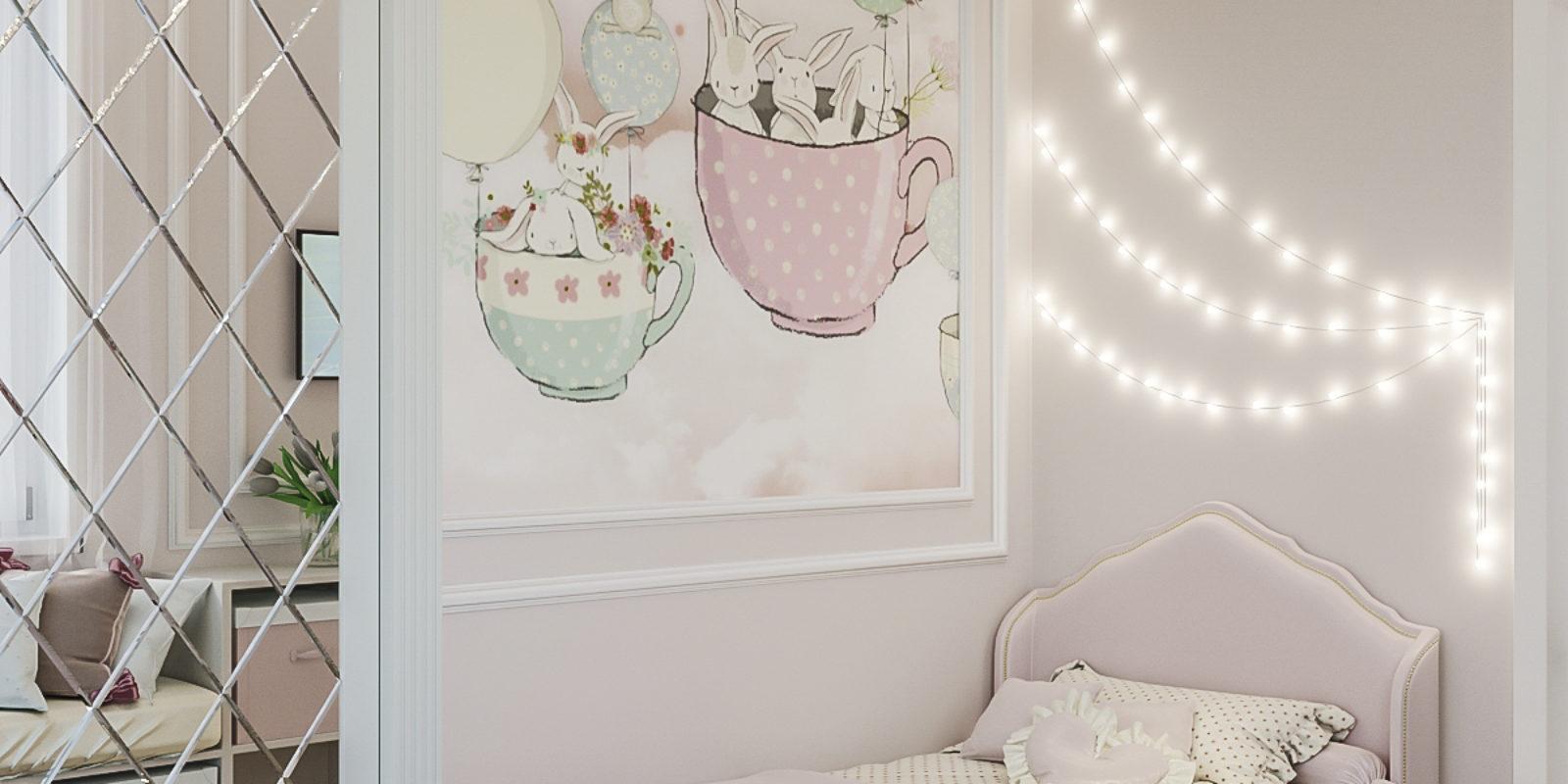 Дизайн проект детской комнаты для девочки.
